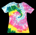 Pastel Spiral Junior Tie Dye V Neck Shirt