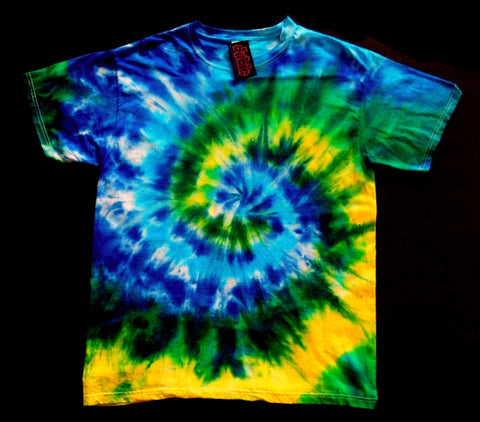 Geen & Yellow Spiral Tie Dye Shirt