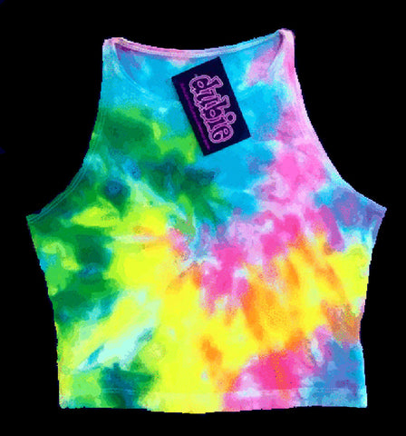 Pastel Spiral Sleeveless Crop Top Tie Dye Shirt