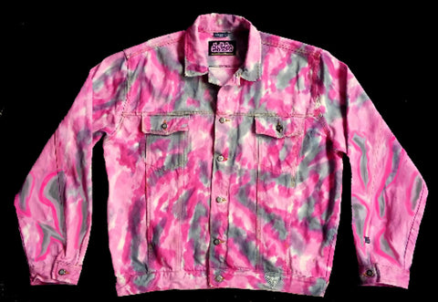 ON SALE $100 Pink Urban Cammo Tie Dye Jean Jacket The Gap men and women sizes