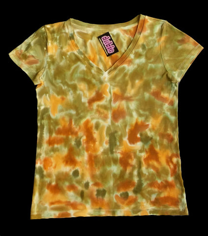 Cammo Lady's V Neck Tie Dye Shirt