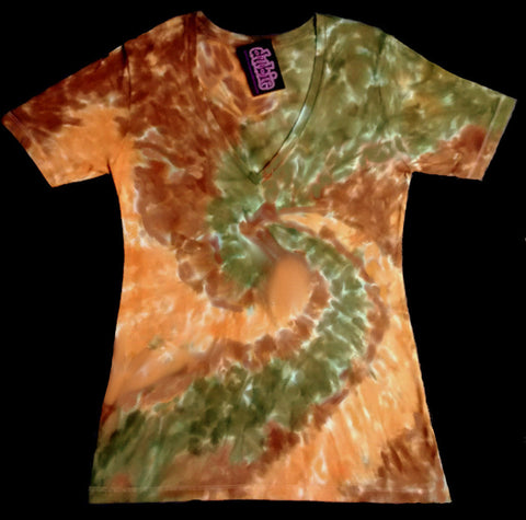 Earth Tone Spiral Junior V Neck Tie Dye Shirt