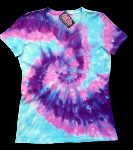 Creamsicle Lady's V Neck Tie Dye Shirt