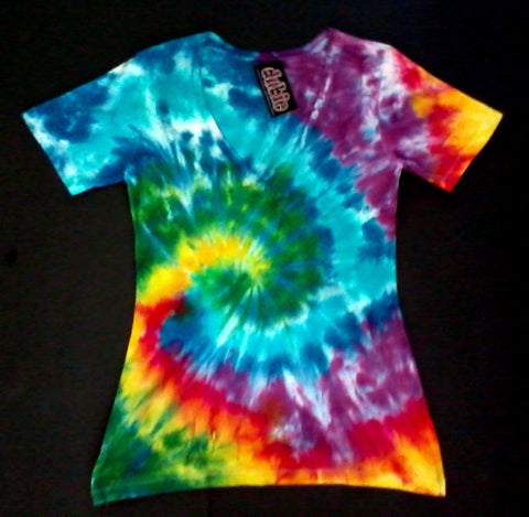 Spiral Junior Tie Dye V Neck Shirt