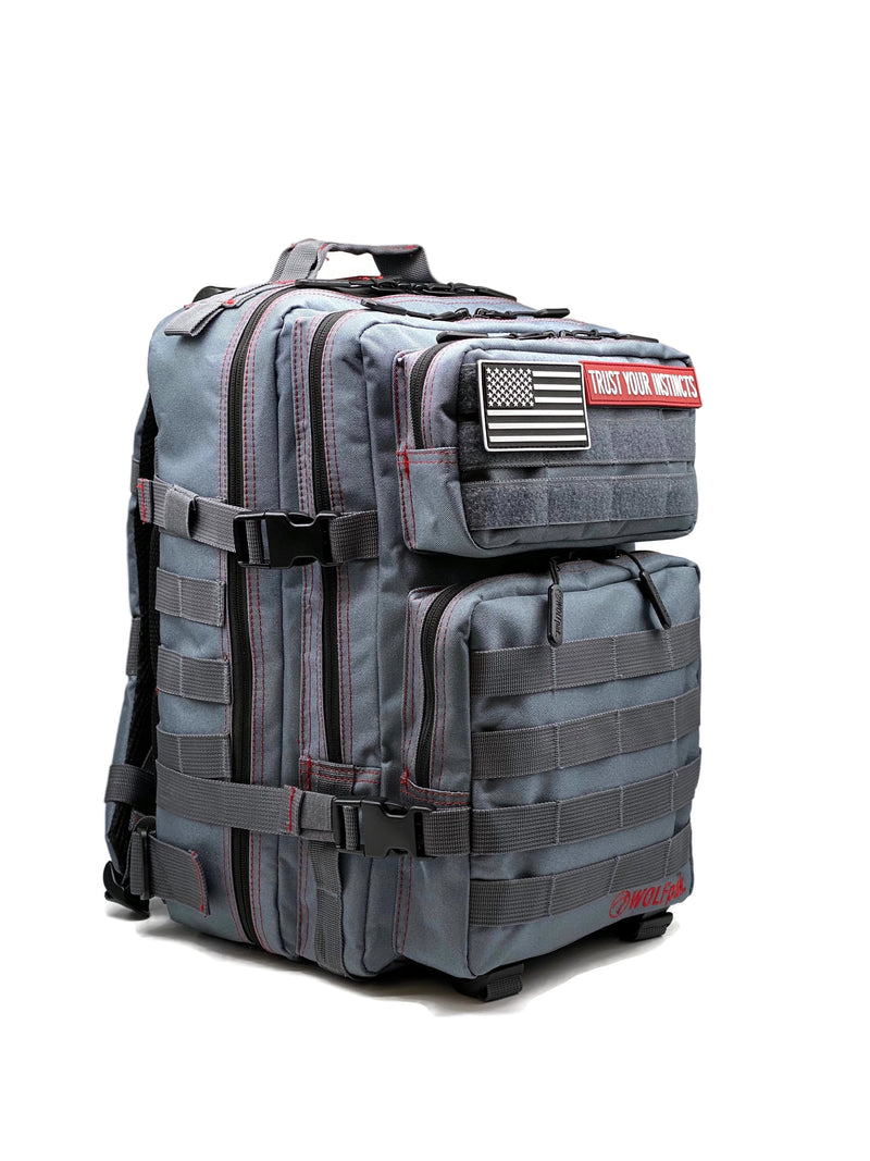 25L Backpack Anvil Gray Red Stitch
