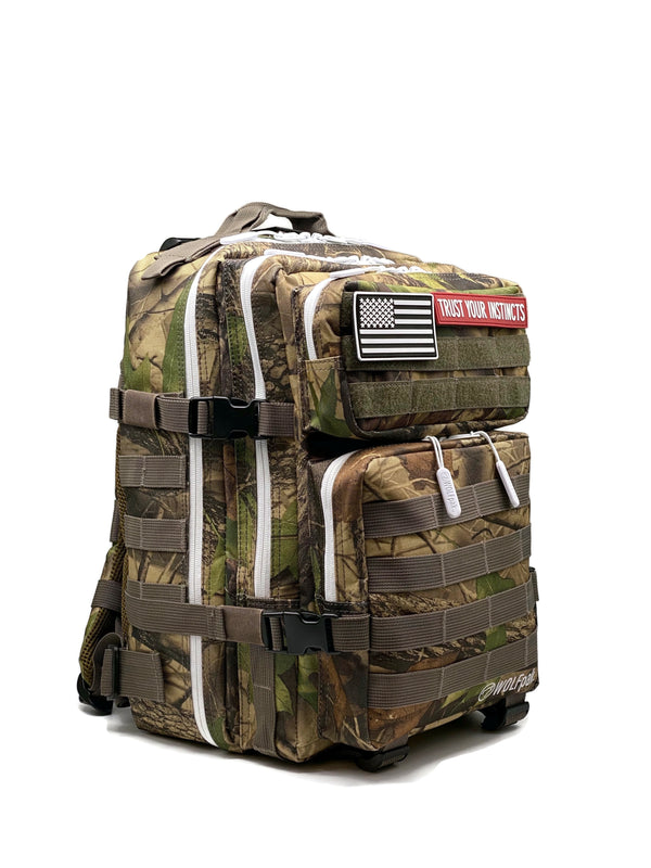 25L Backpack Wood Camo White Zipper