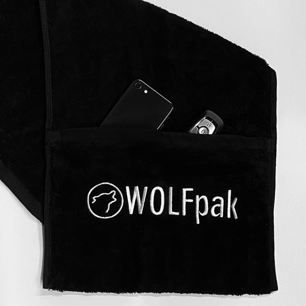 Black Gym Towel w/Pocket