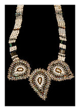 Load image into Gallery viewer, Three paisley cream & gold necklace