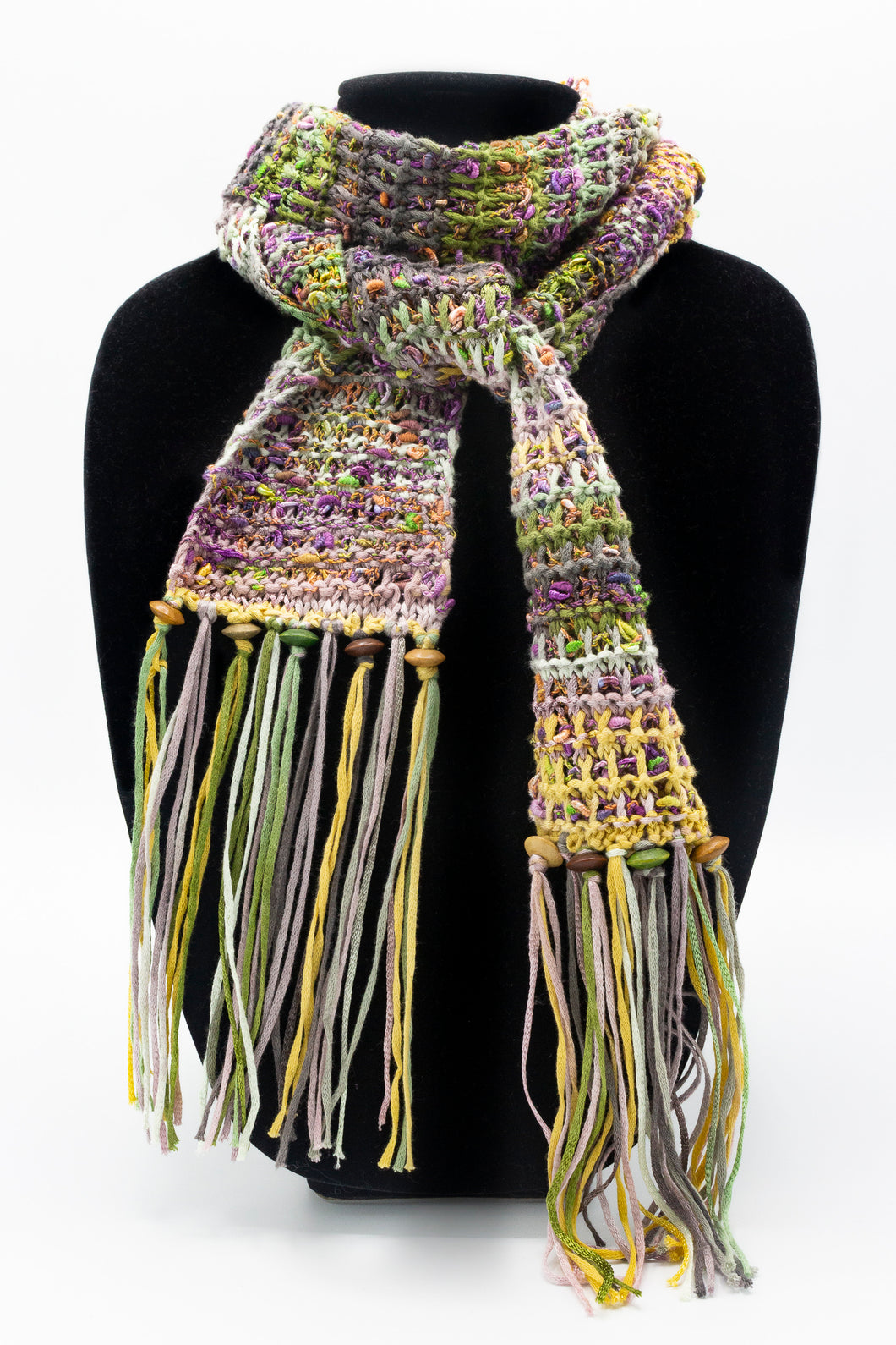 Fringed Scarf with Beads