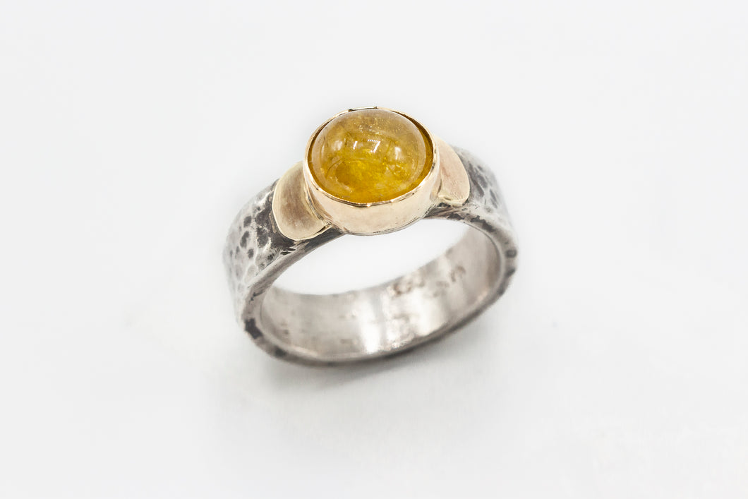 Yellow Cabochon Sapphire Ring