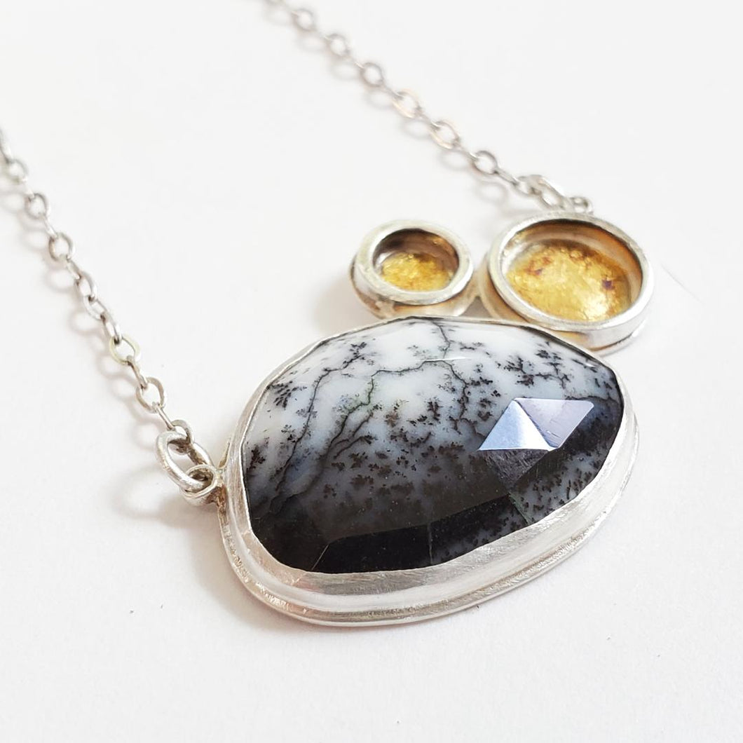 Dendritic Opal and Two Keum Boo Necklace