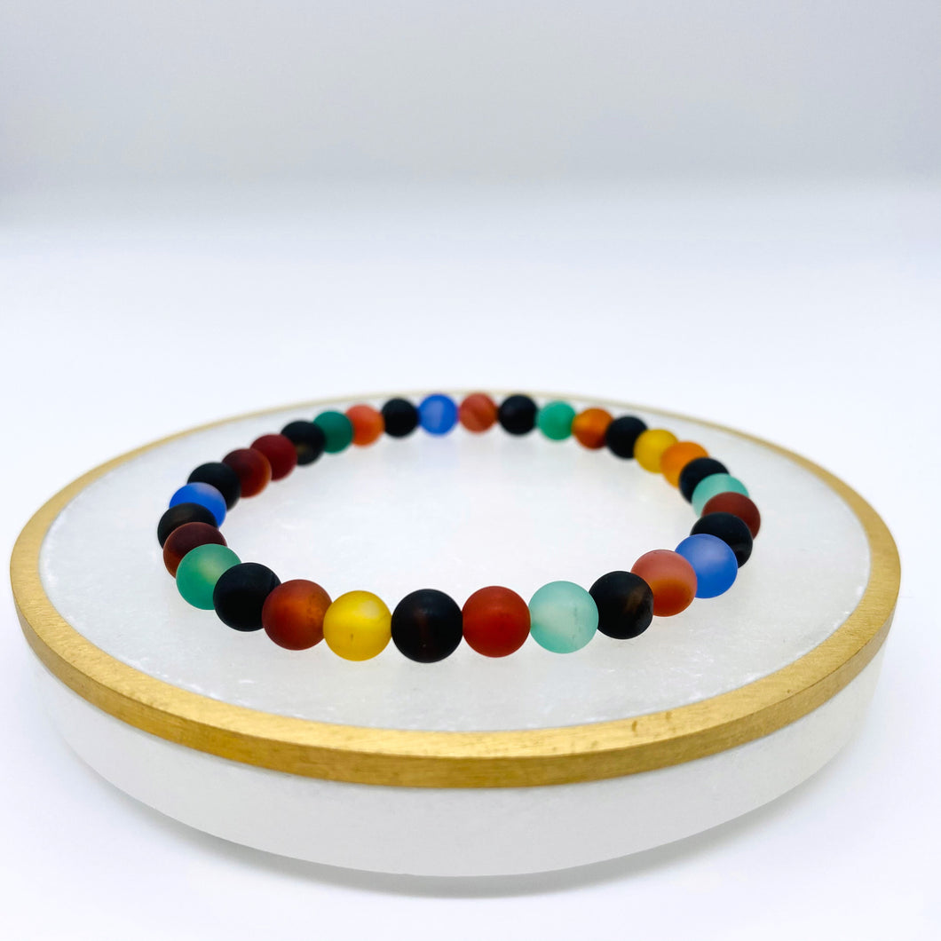 Agate Colourful Frosted Bracelet