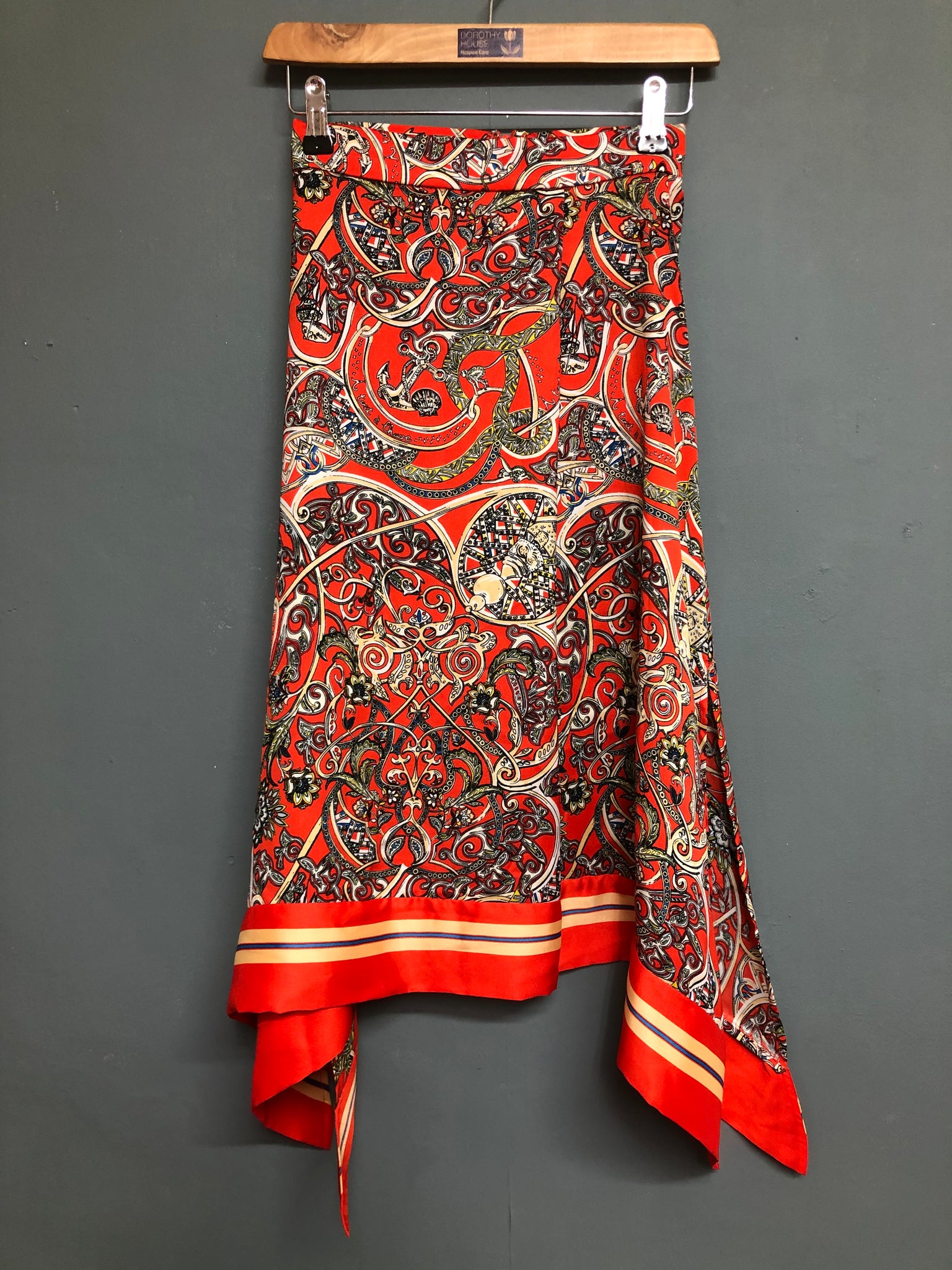 Orange Nautical print Handkerchief Skirt H&M Size 4