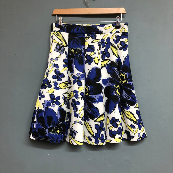 Purple and Yellow Floral Quiz Skirt Size 12
