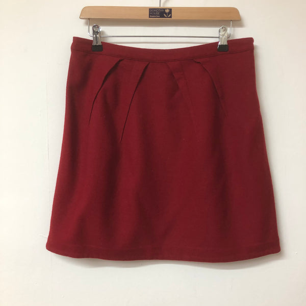 Red Marks and Spencer Wool Mix Mini Skirt Size 12