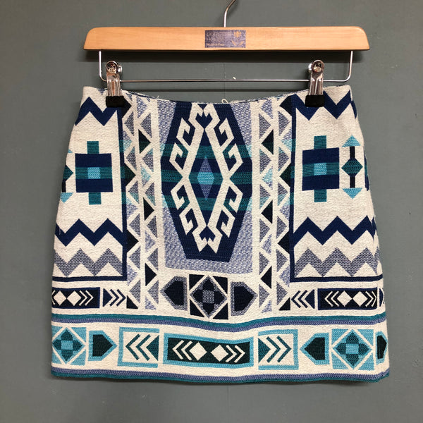 H&M Blue and White Design Mini Skirt Size 6