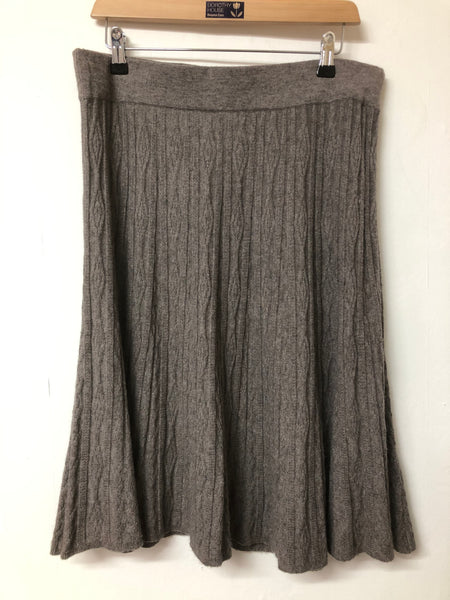 Grey Brown Knitted White Stuff Skirt Size 16