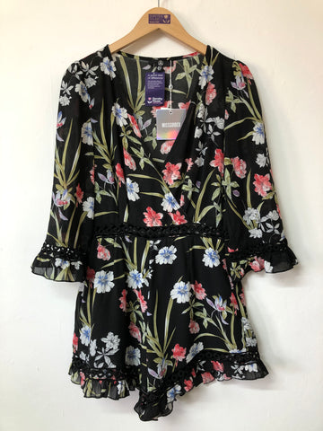 Missguided Chiffon Plunge Neck Playsuit New Tag Size 12