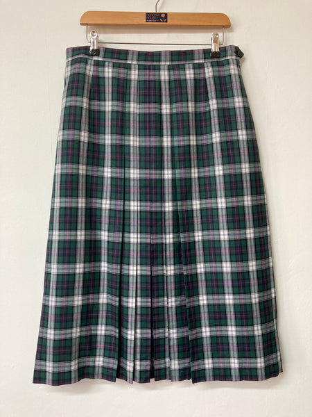 Gor-Ray Green and White Tartan Wool Mix Skirt Size 16