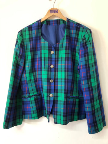 Ladies Vintage Green and Royal Blue Check Jacket Size L/XL