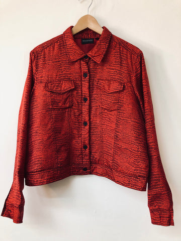 Ladies Bridgetown Collection Red Printed Silk Western Style Jacket Size M