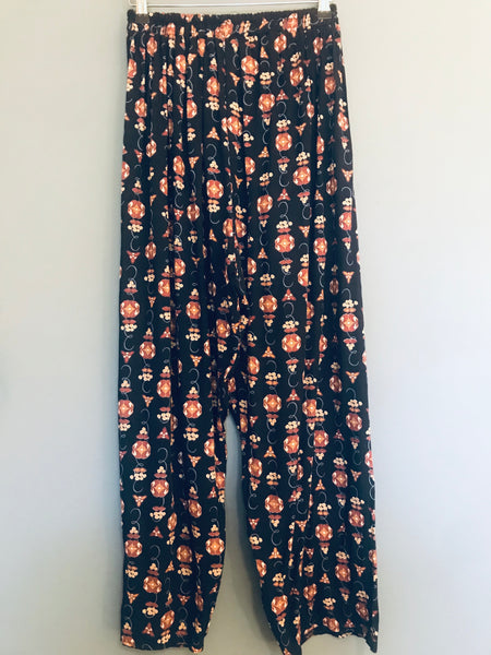 Black and Brown Floral Drawstring Flowy Trouser 8
