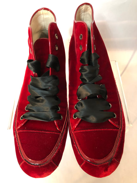 Ladies Russell & Bromley Red Velvet Lace Up Pumps Size 37 UK 4/4.5