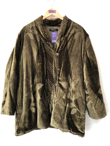 Ladies Nitya  Quilted Olive Velvet Jacket  Size L/XL