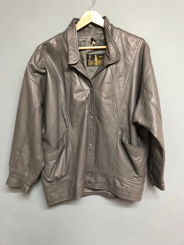 Grey Batwing Retro Leather Jacket Size 14