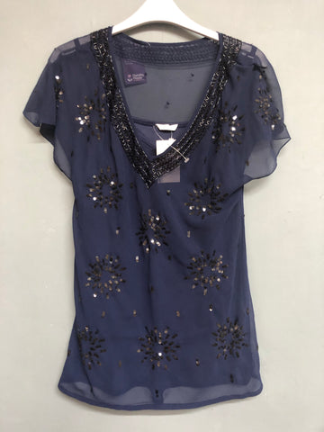 Blue Sequin Detail Short sleeve Top Size 12