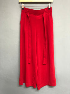 Red Zara Cropped Wide Leg Trousers Size S
