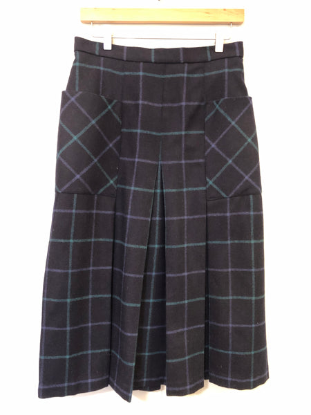 Wool Blue and Green Check Vintage Pleated Midi Skirt 12