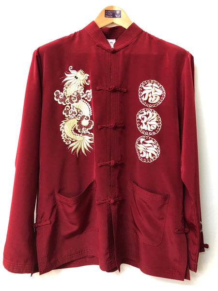 Ladies Deep Red Chinese Silk Pyjama Set Size L