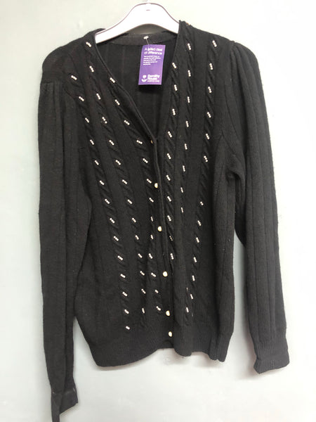 Black Knitted Cardigan with Bead Detail 14