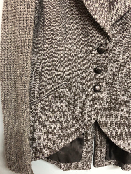 Grey Tweed Jacket with knitted sleeves Size 12