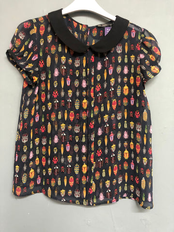 Zara Sheer Bug Print Top Size M