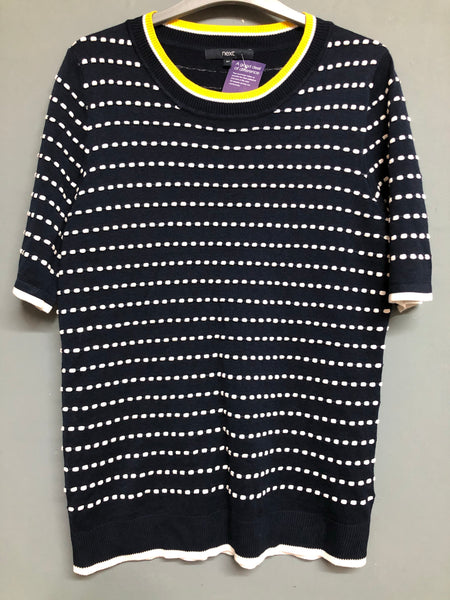 Next Ladies Blue, White & Yellow Detail Short Sleeve Top Size 18