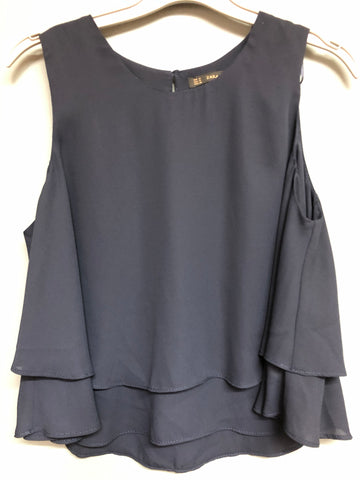Ladies Zara Frilled Detail Navy Blue Top size M