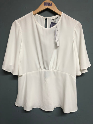 Topshop White Short Sleeve Top Size 12 BNWT