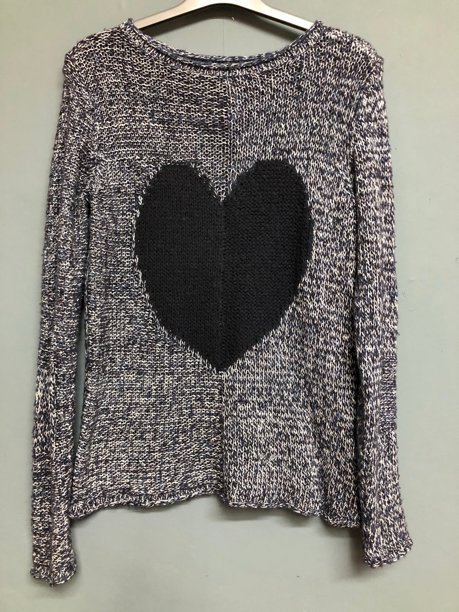 White Stuff Blue Heart Motif Knitted Jumper Size 10