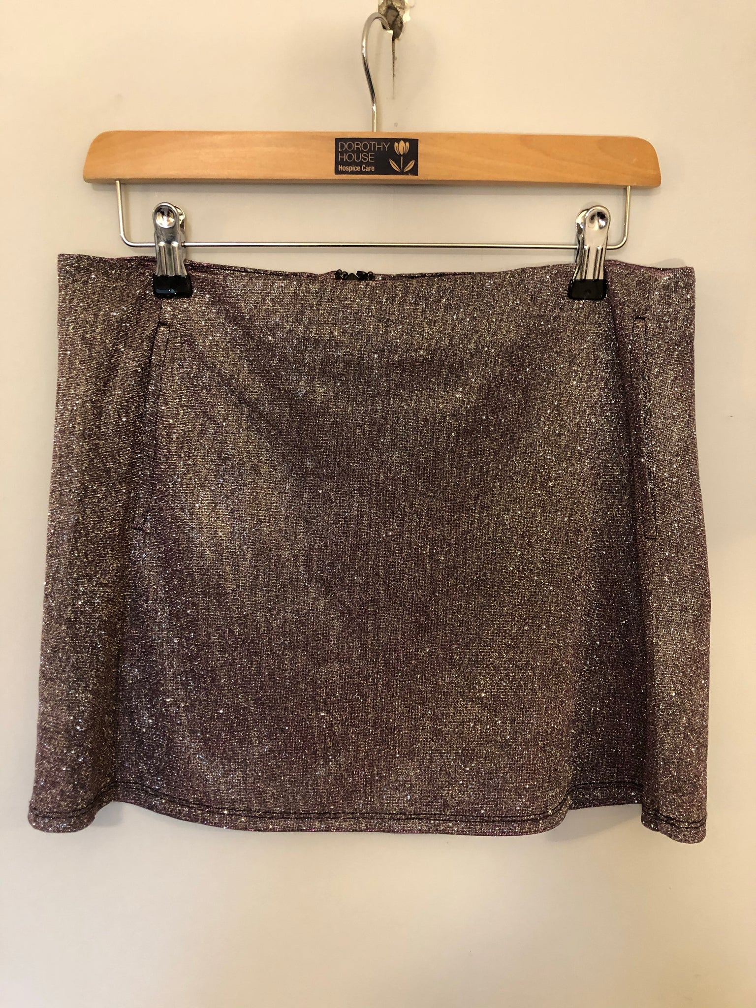 Lurex Silver Mini Skirt M