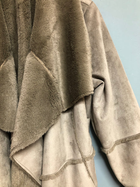Taupe Fake Fur Coat Size 22