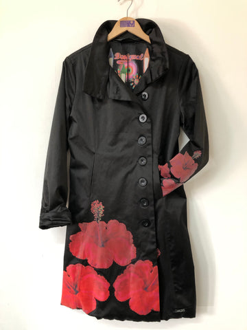 Vintage Desigual Black Satin and Red Poppies Overcoat Size 10