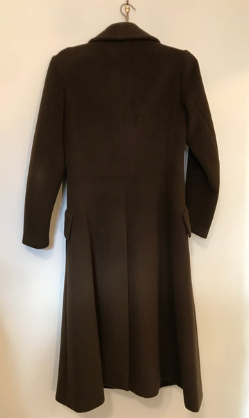 Vintage Brown Wool Full Length Coat S
