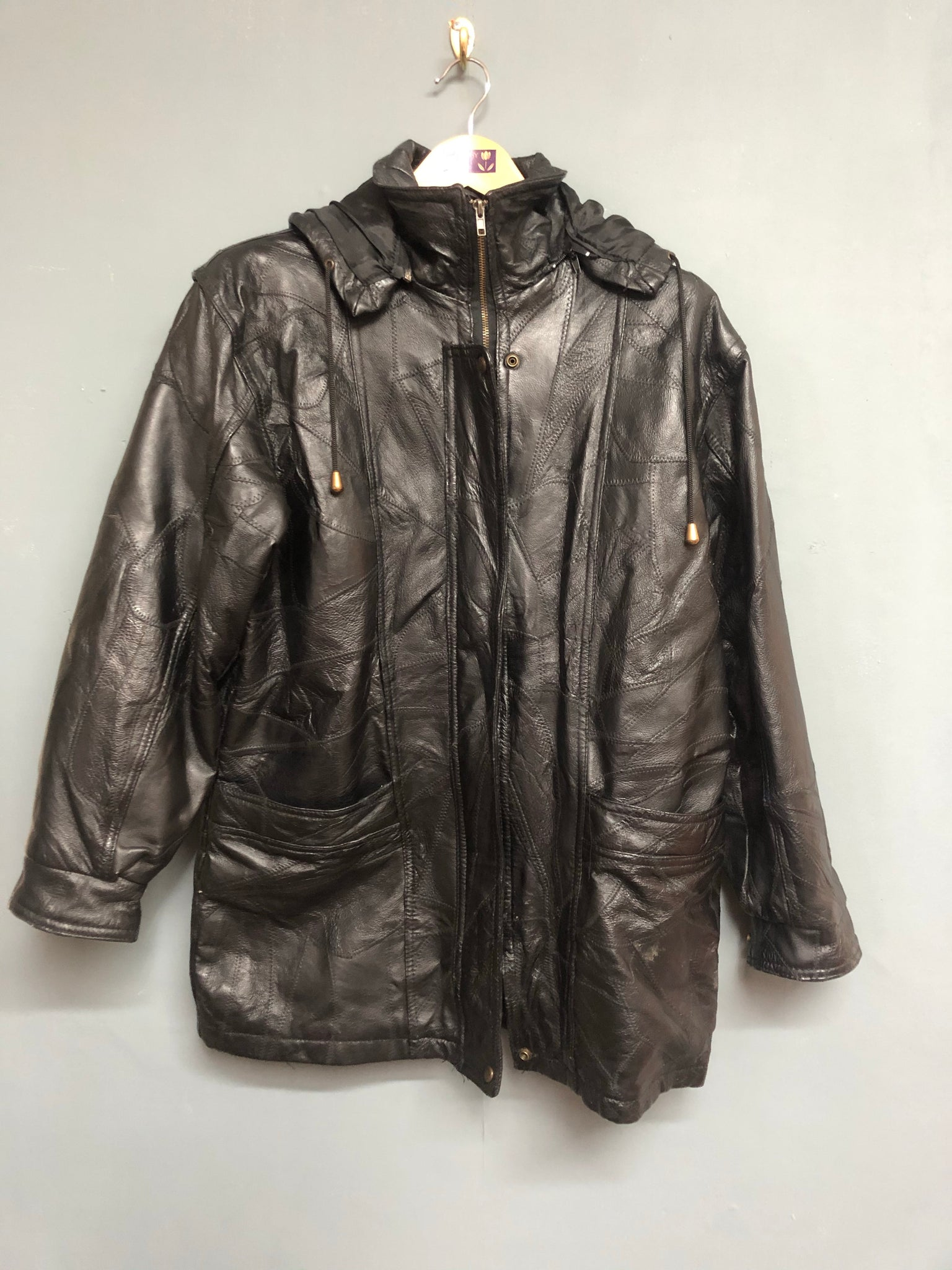 Black Patchwork Leather Jacket Size S