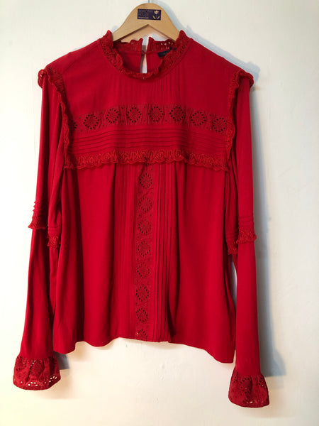 Ladies Marks and Spencer Collection Red Shirt Size 14