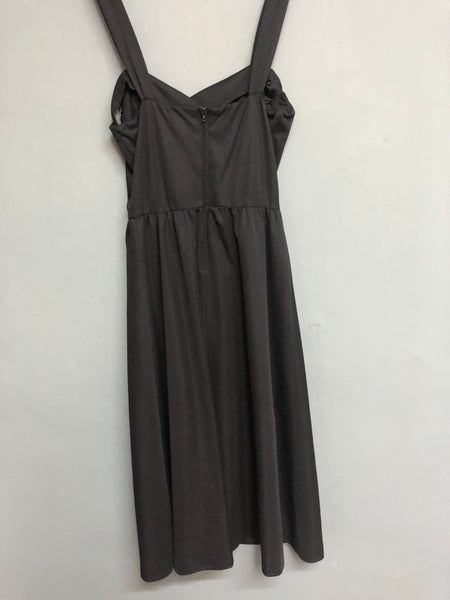 Black Strap Dress with Frill detail Size 14