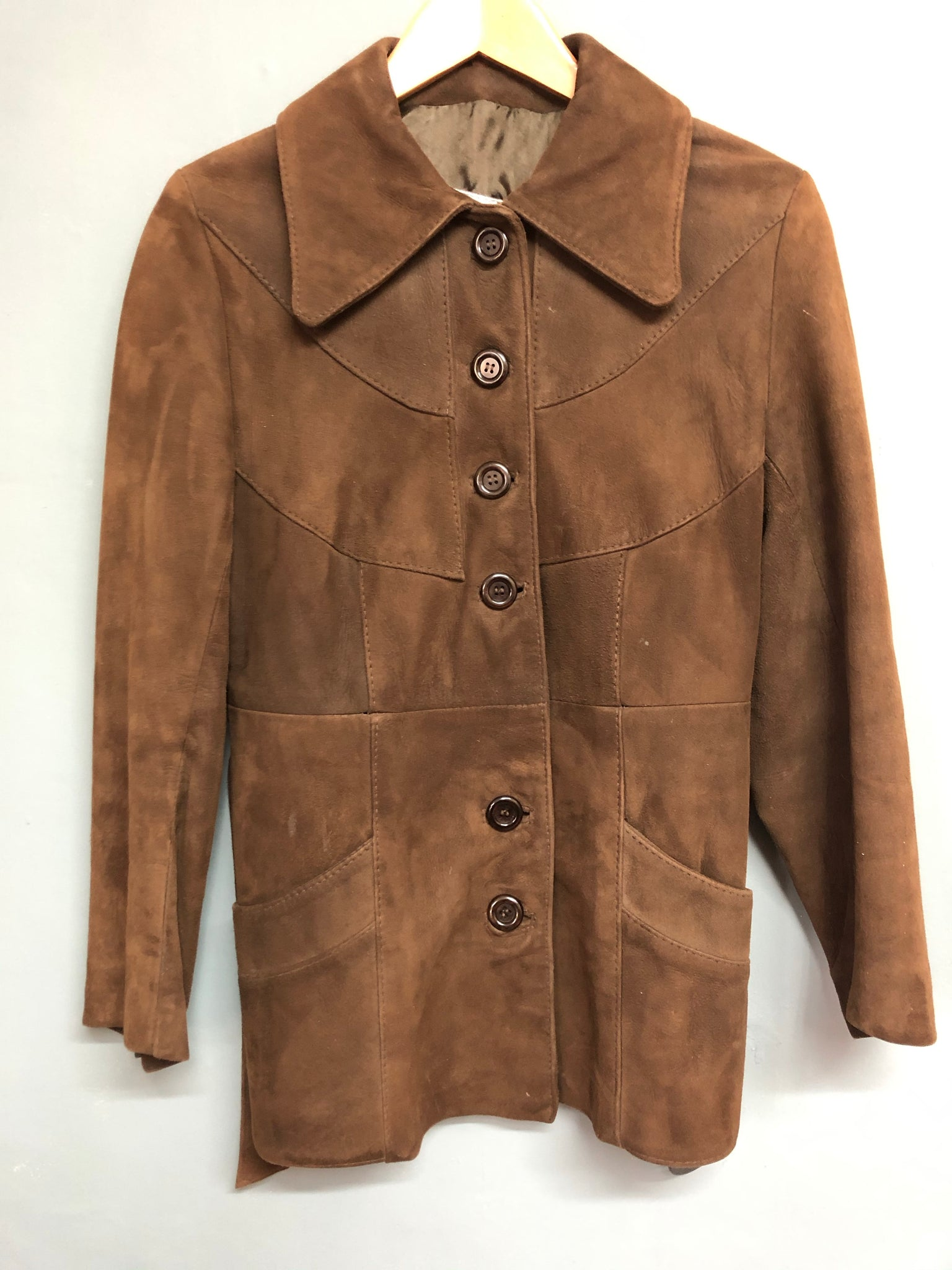 Brown Suede Jacket with Waist Belt Size M