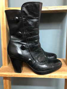 Ladies Clarks Black Zip Boots Size UK 7