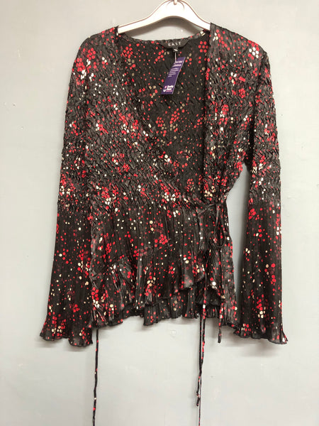 East Black and Red Wrap Top Size 12